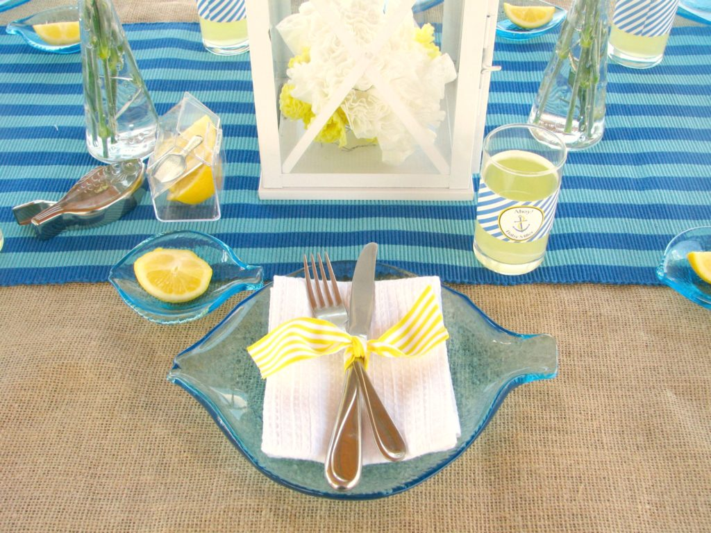 Nautical Themed Baby Shower Table Setting - PinkDucky.com