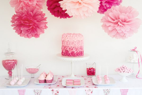 Cheap baby shower supplies party favors ideas - Pink baby shower table decorations ...