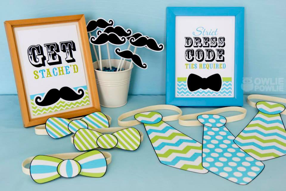 mustache baby shower bowties