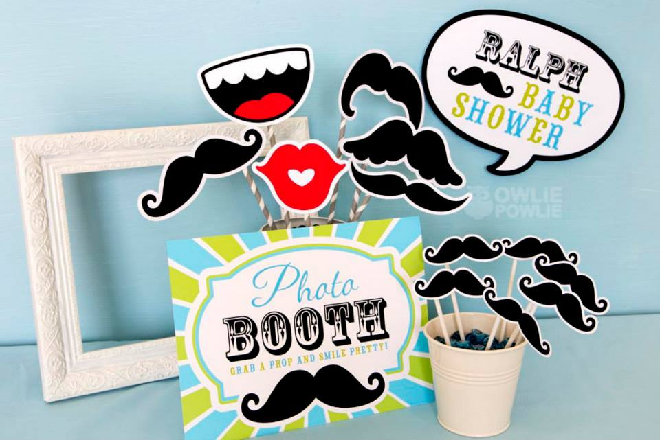 Mustache Baby Shower Photo Props - PinkDucky.com