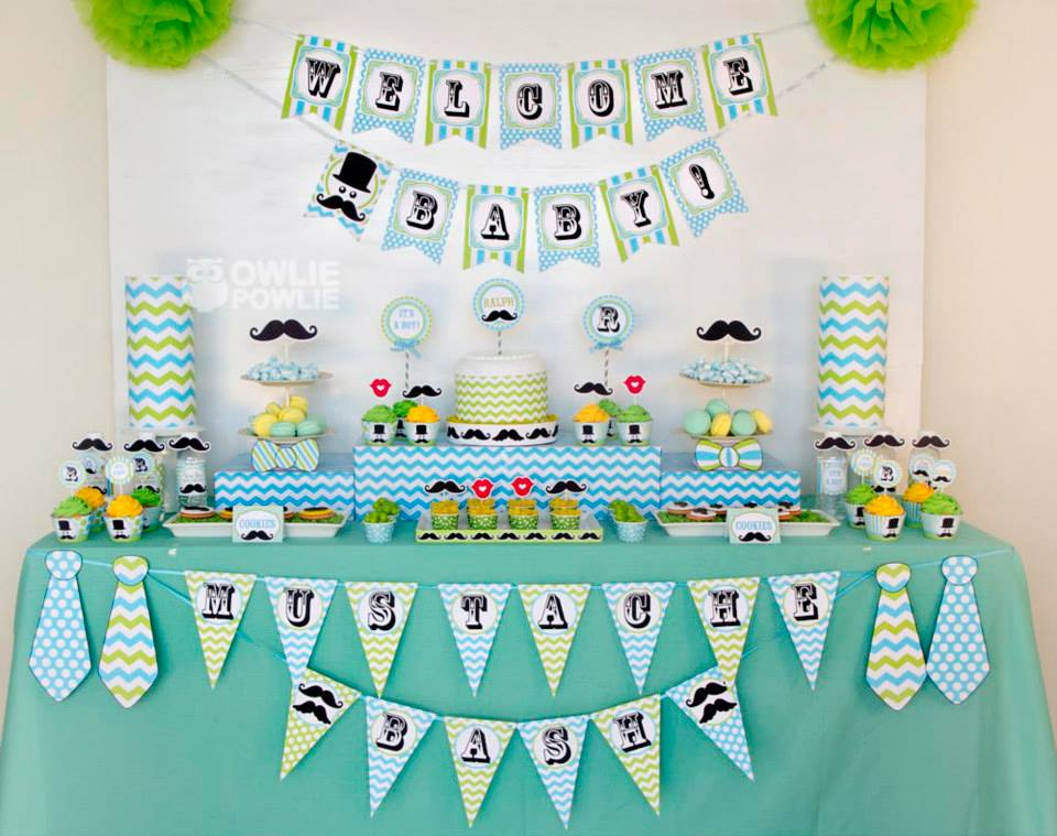 Mustache baby shower ideas for Baby shower decoration theme