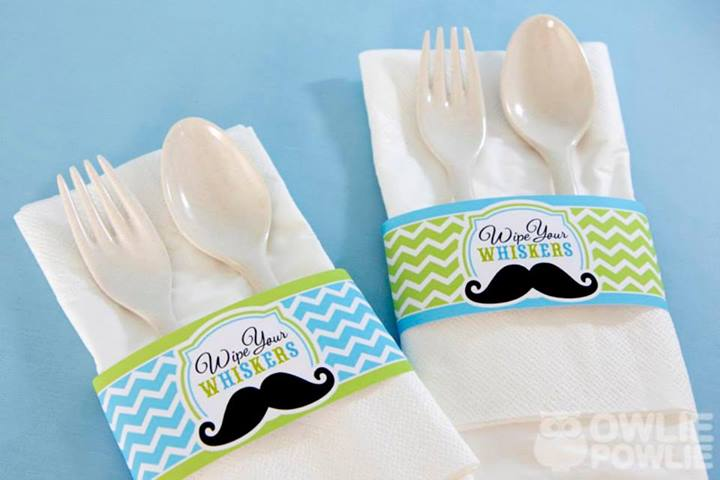 Mustache Baby Shower Table Setting - PinkDucky.com