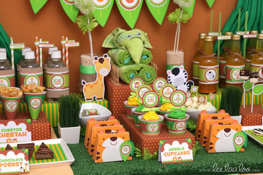 Jungle theme baby shower ideas for Baby shower safari decoration