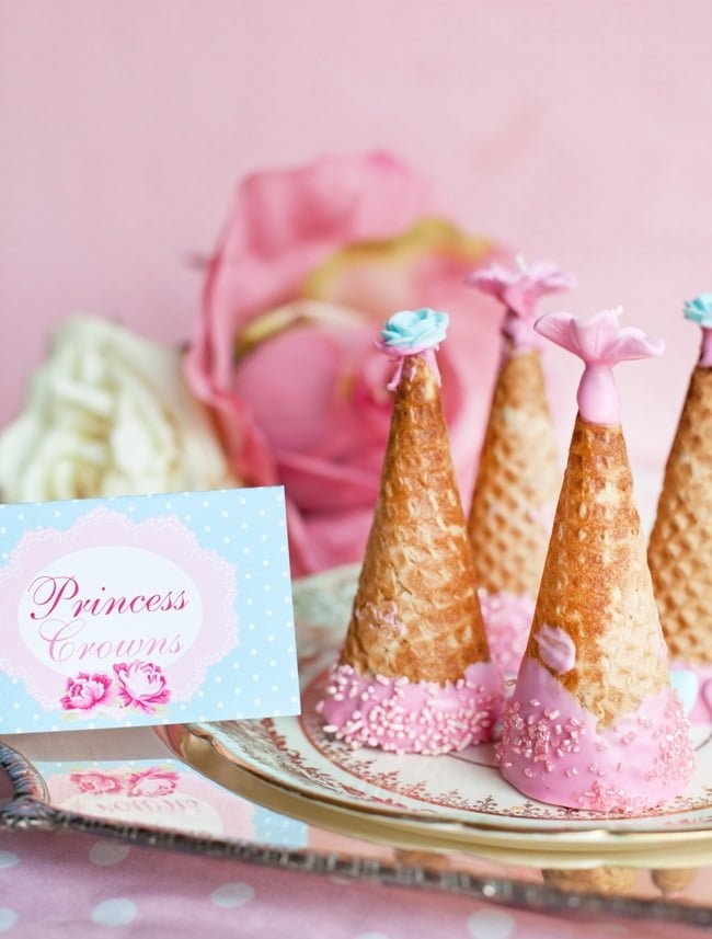 Princess Baby Shower Ice Cream Cones - PinkDucky.com