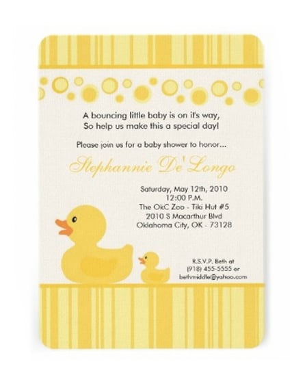 Rubber Ducky Baby Shower Invitations - PinkDucky.com